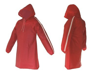 AllWeatherWare (1-Piece) Waterproof Breathable Lightweight Rain Poncho - Red