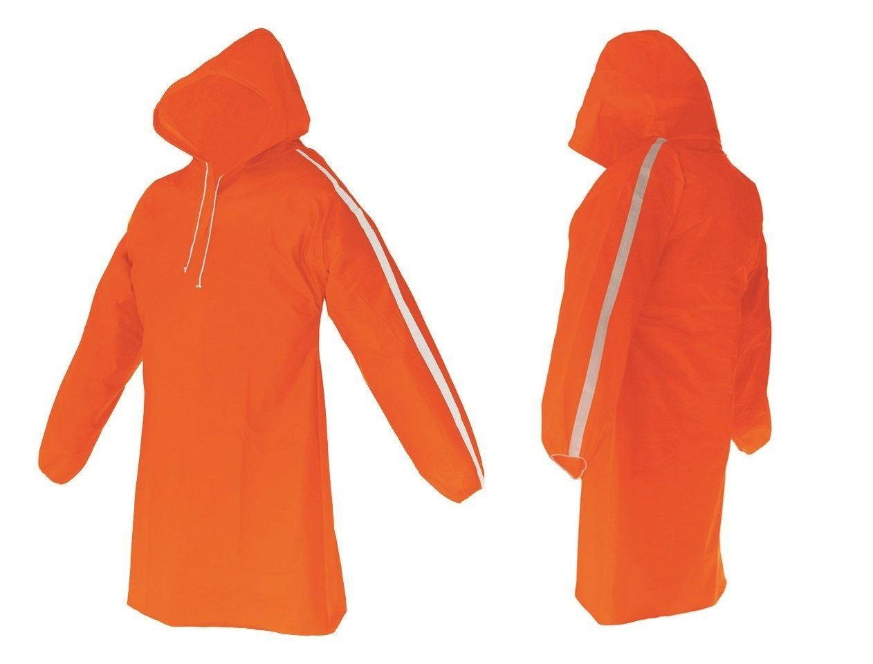 AllWeatherWare (1-Piece) Waterproof Breathable Lightweight Rain Poncho - Orange