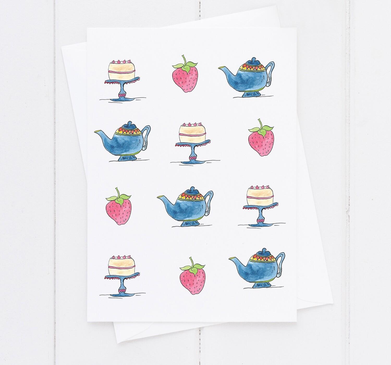 Tea and Cake Greetings Card