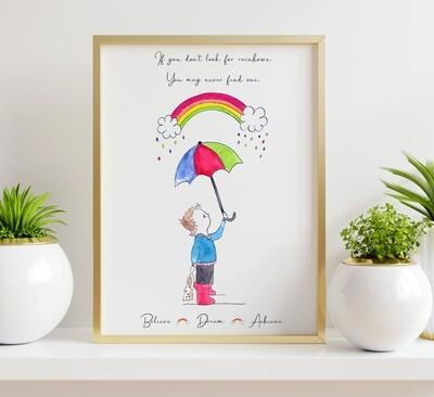 Umbrella and Rainbows Prints