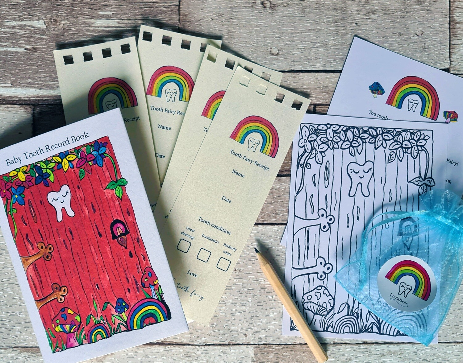 Tooth Fairy Record Book, receipts and more
