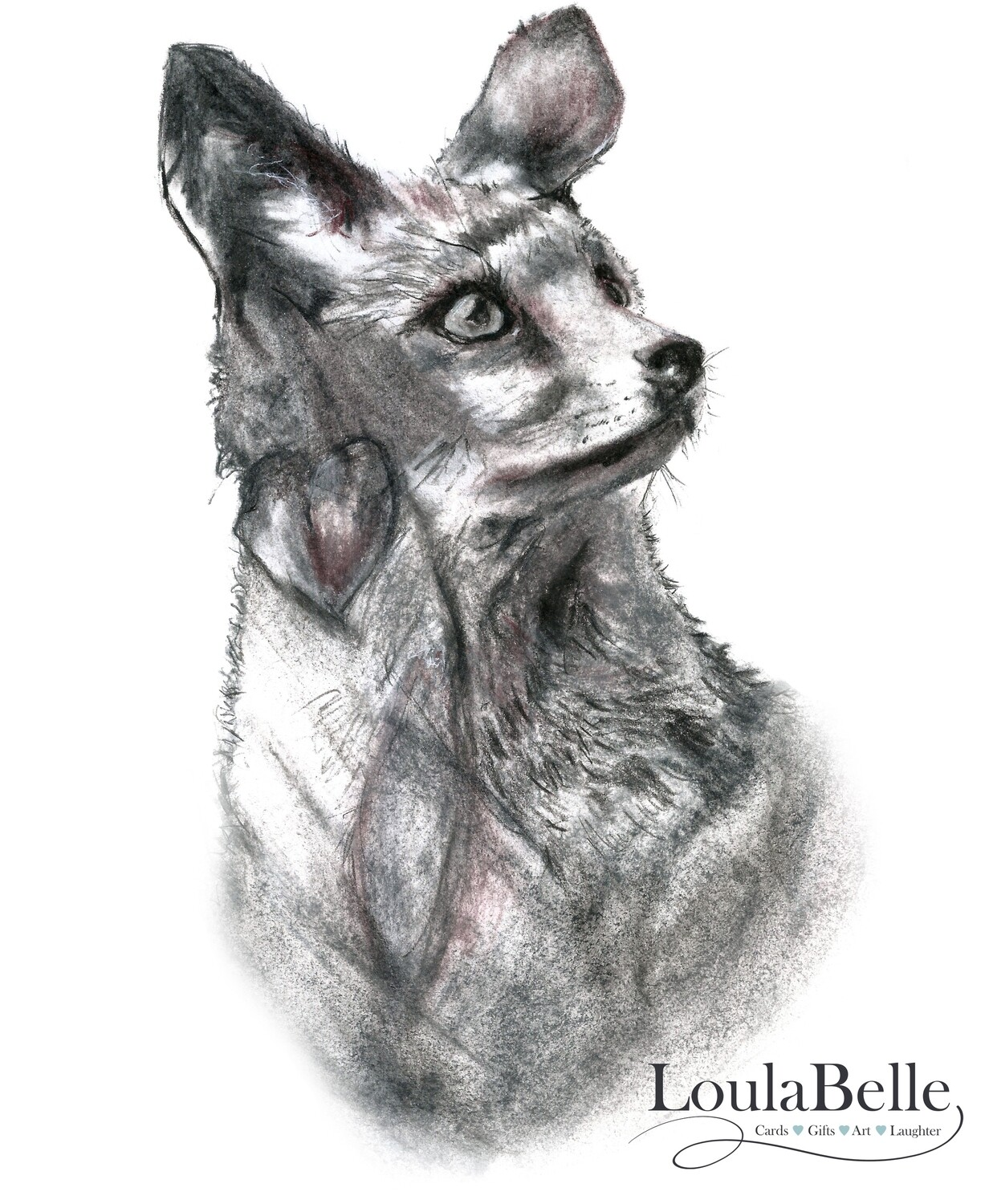 Little Charlie Fox Cub in black and white