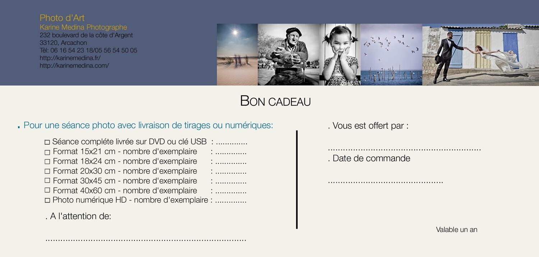 BON CADEAU 125 €/ Séance photo + 3 options de livraison