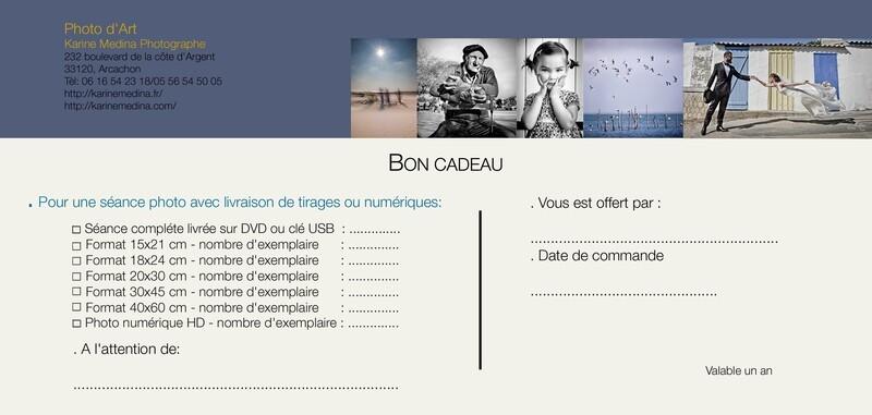BON CADEAU 20€/ Séance photo + tirages photo 15x21 cm, nombre au choix