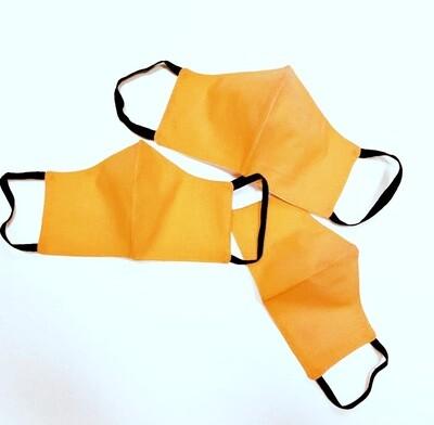 Маска многоразовая трехслойная для лица оранжевая, женская