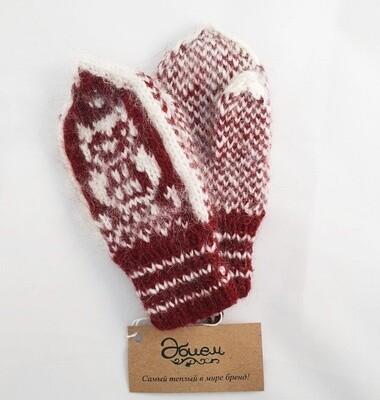 """Hand knit wool mittens """"Kosh"""" kids"""