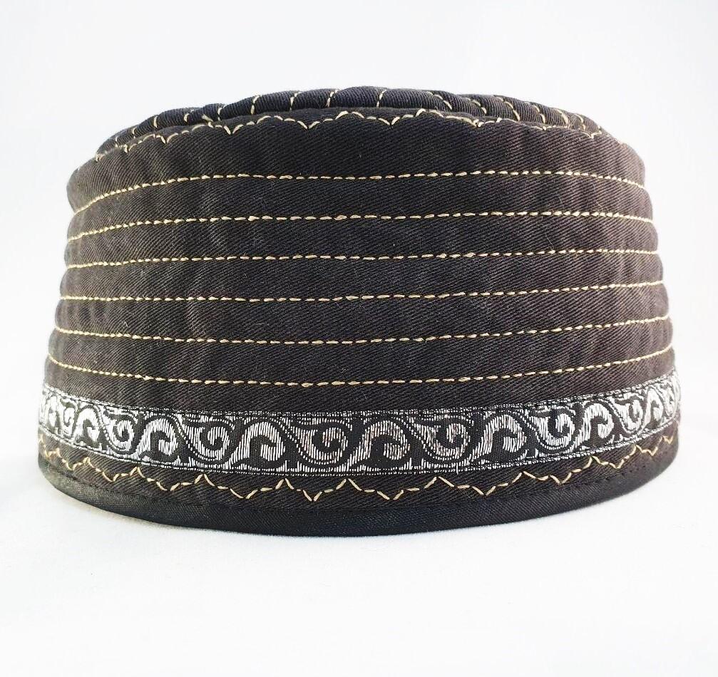 """Tubeteika (scull cap) denim """"Bairam 2"""" black"""