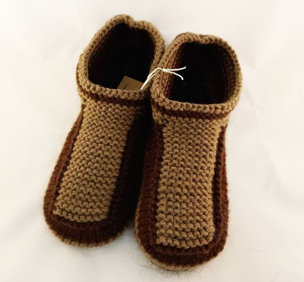 """Knit indoor slippers """"Abiem"""" adults, brown"""