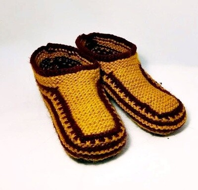 """Knit indoor slippers """"Abiem"""" adults, mustard"""
