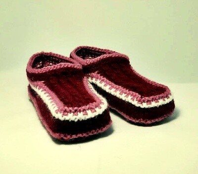 """Knit indoor slippers """"Abiem"""" adults, red wine"""