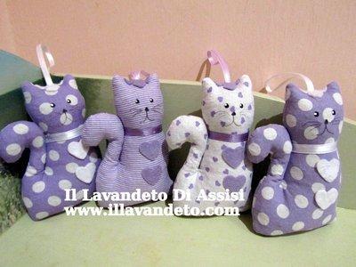 Gatto lavanda, gatto in stoffa imbottito di lavanda in fantasia di lilla (Cadauno)