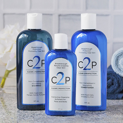 Clear 2 Perfection Shampoo, Conditioner and Corrective Cleansing Exfoliant set
