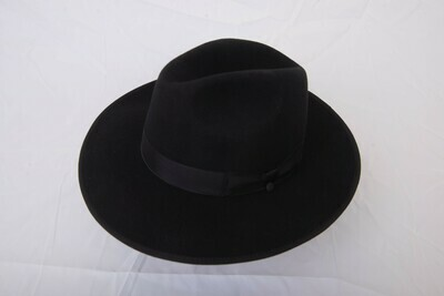 Black rimmed snap brim hat