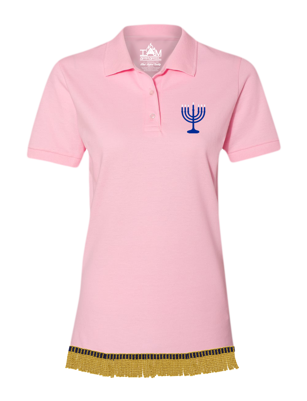Women's Embroidered Menorah Polo With Fringes