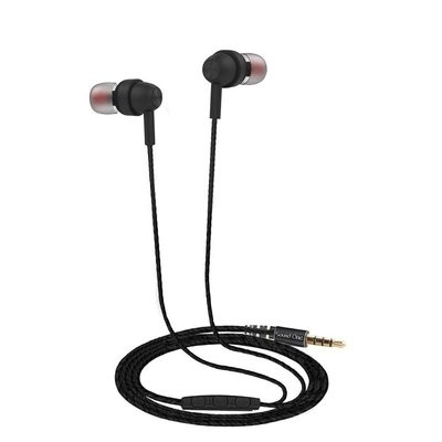 Sound One E10 In Earphones With Mic , Metal Body With EXTRA BASS , Black