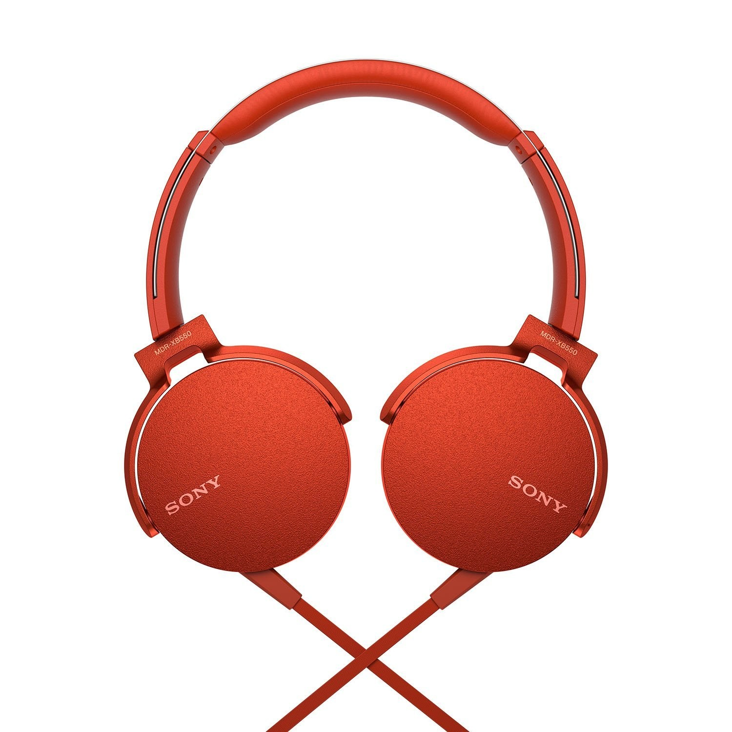 Sony Extra Bass MDR-XB550AP On-Ear Headphones, Red