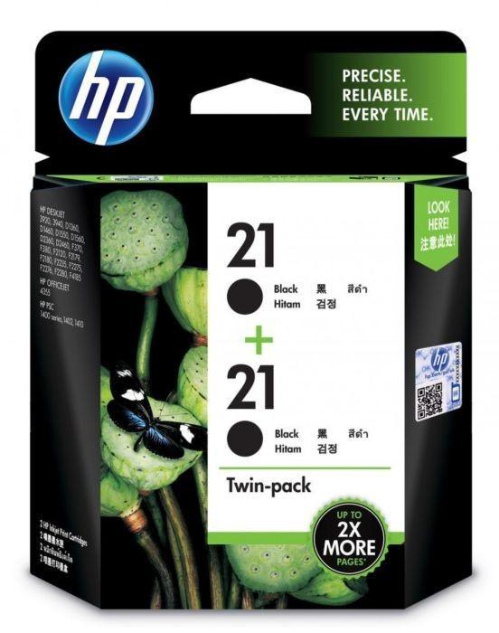 HP 21A Ink Cartridge, Black, Twin Pack