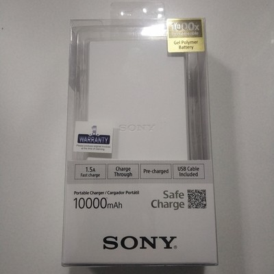 Sony 10,000mAh Li-Polymer Power Bank, White