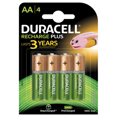 Duracell AA, 4 Batteries, 1300mAh, Rechargeable Plus