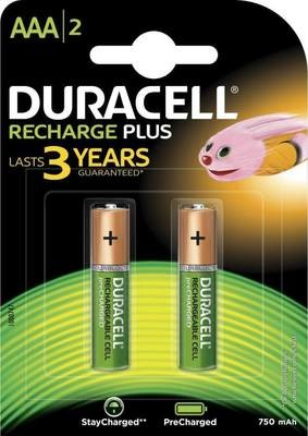 Duracell AAA, 2 Battery, 750mAh, Rechargeable Plus