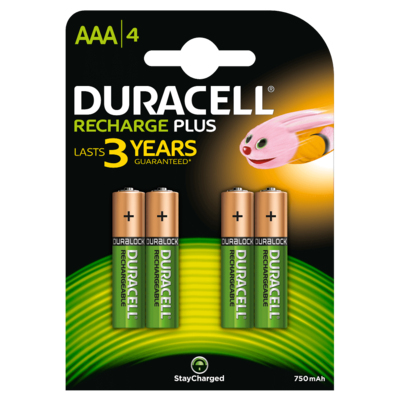 Duracell AAA, 4, Battery, 750mAh, Rechargeable Plus