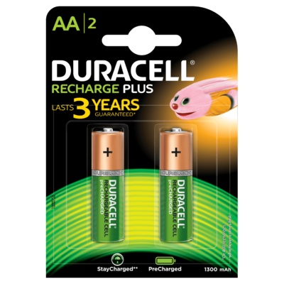 Duracell AA, 2 Batteries, 1300mAh, Rechargeable Plus
