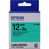 Epson LK-4GBP 12mm Black on Green Label Tape