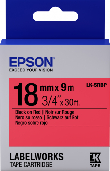 Epson LK-5RBP 18mm Black on Red Tape