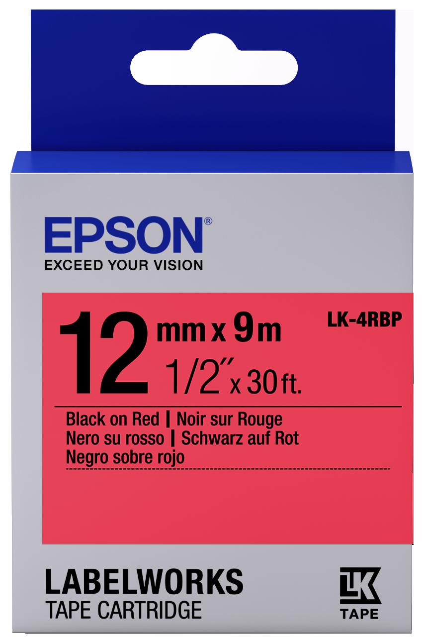Epson LK-4RBP 12mm Black on Red Label Tape