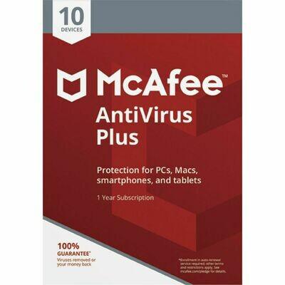 10 User, 1 Year, McAfee Antivirus Plus