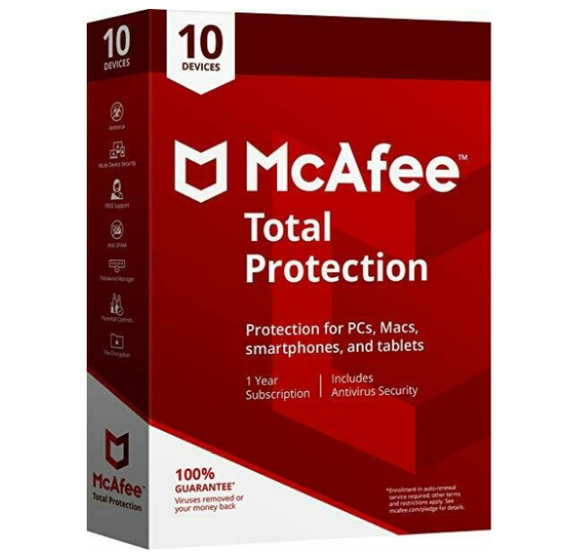 10 User, 1 Year, Mcafee Total Protection, Single key