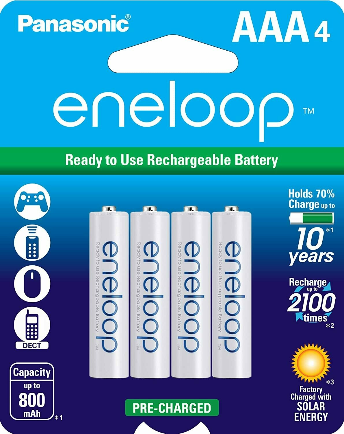 Panasonic eneloop AAA Charged Rechargeable Batteries, Pack of 4