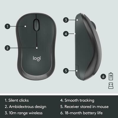Logitech MK295 Wireless Keyboard and Mouse Combo - SilentTouch Technology