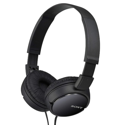 Sony MDR-ZX110 On-Ear Stereo Headphones, Black, without mic