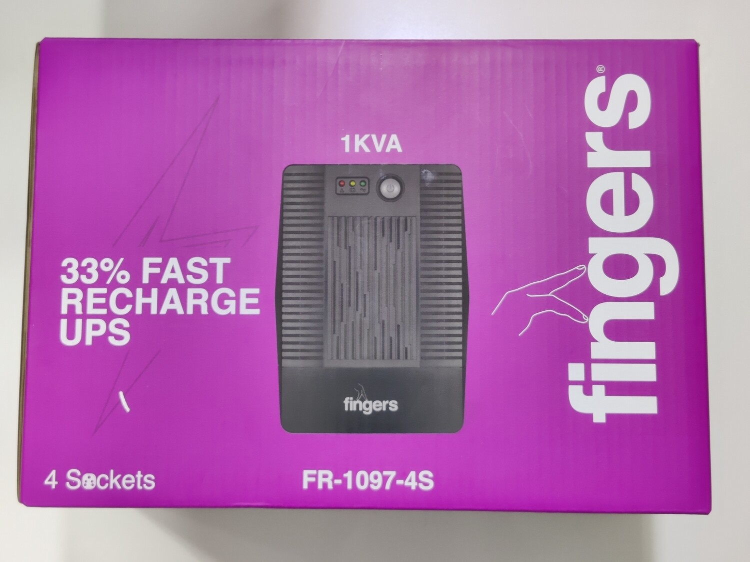 Fingers 1KVA Fast-Recharge Computer UPS, FR-1097-4S