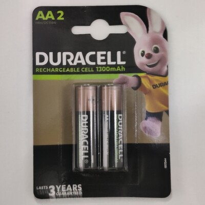 Duracell AA, 2 Batteries, 1300mAh, Rechargeable