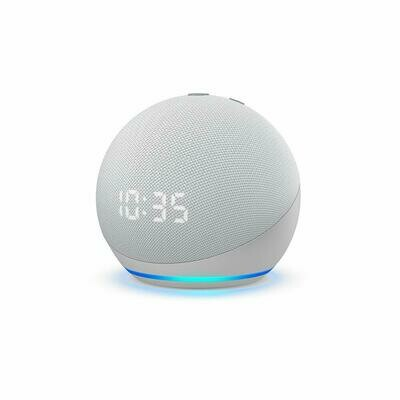 Amazon Echo Dot 4th Gen With Clock, White