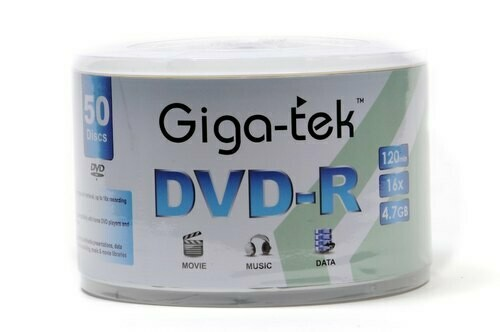 Giga-Tek DVD-R 4.7 GB Recordable, 50-disk