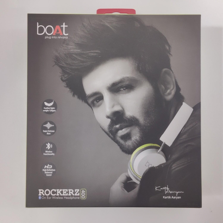 boAt Rockerz 400 Bluetooth On-Ear Headphones, Grey/Green