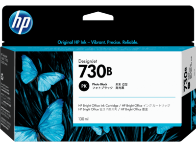 HP 730B 130-ml Photo Black DesignJet Ink Cartridge