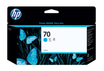 HP 70 130-ml Cyan DesignJet Ink Cartridge