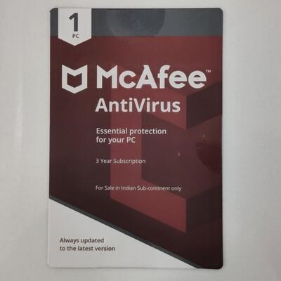 1 User, 3 Year, McAfee Antivirus