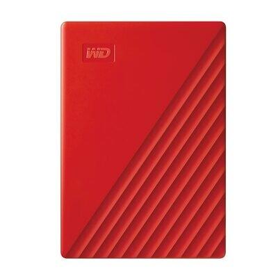 WD 2TB My Passport Portable External Hard Drive, Red