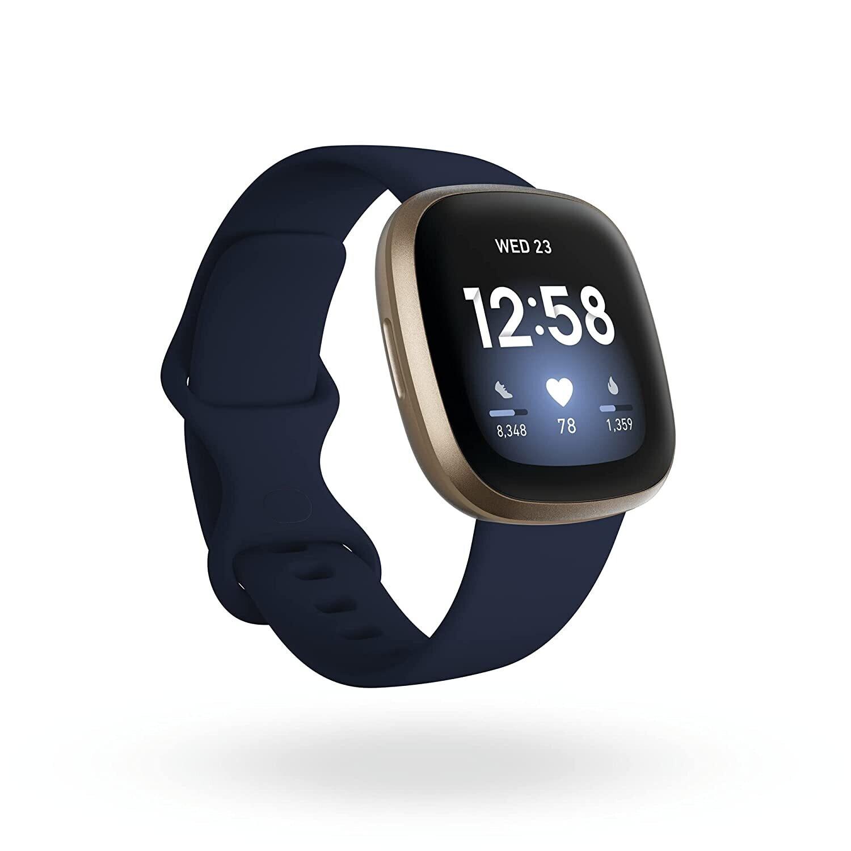 Fitbit Versa 3 Health & Fitness Smartwatch, Midnight Blue/Gold