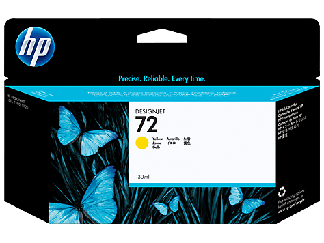 HP 72 Ink Cartridge, Yellow, 130ml