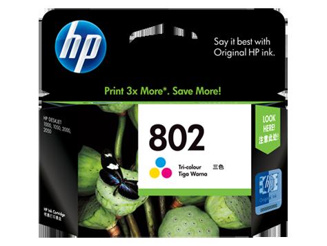 HP 802 Large Ink Cartridge, Tri Color
