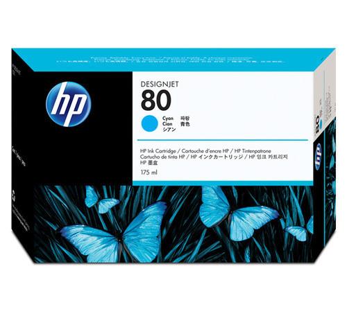 HP 80 C4872A 175-ml Ink Cartridge, Cyan