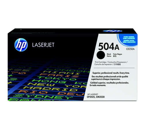 HP 504A Toner Cartridge, Black, CE250A