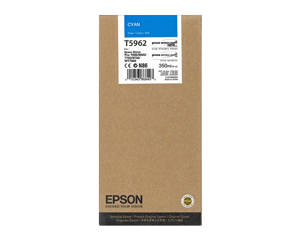 Epson T5962 Ink Cartridge, Cyan, 350ml