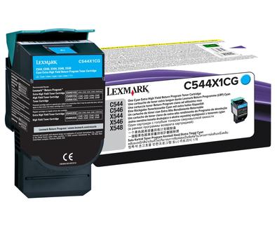 Lexmark C544X1CG Cyan Extra High Yield Toner Cartridge, 4K